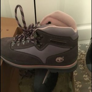 Timberland pink and grey boots